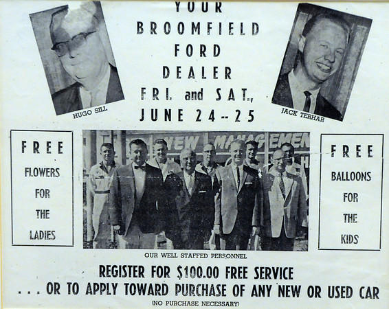 An advertisement showing the entire staff of Sill Terhar Ford dealership in 1960.<br /> <br /> <br /> courtesy of Sill Tehar Motors