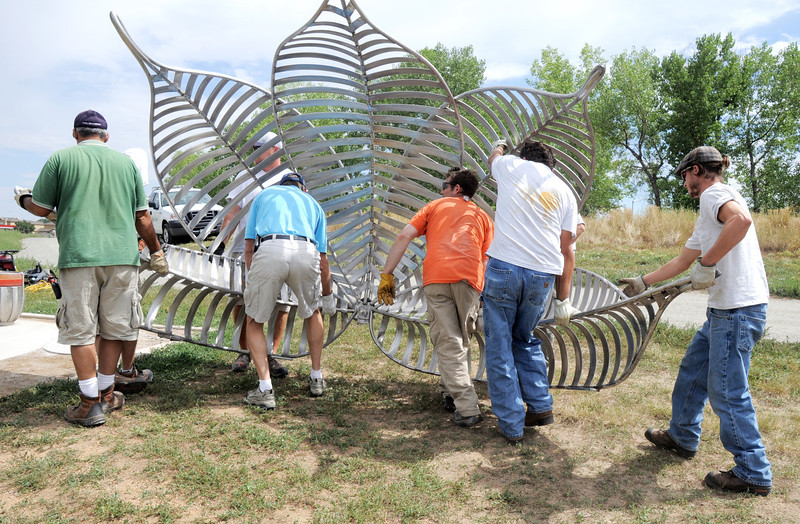 Broomfield Parks employees and Artist Matt Cartwright, center orange t-shit, carry the new replacement Lotus bench into position at Tom Frost Reservoir on Friday .<br /> <br /> August 26, 2011<br /> staff photo/ David R. Jennings