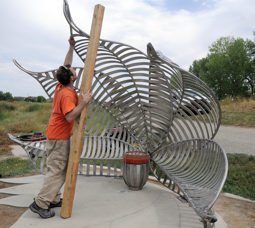 Artist Matt Cartwright prepares to position the pedals on the new replacement Lotus bench at Tom Frost Reservoir on Friday .<br /> <br /> August 26, 2011<br /> staff photo/ David R. Jennings