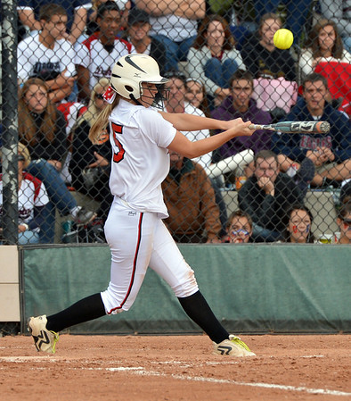 Bradey King, Loveland, hits the ball against Dakota Ridge during Saturday's state 5A softball championship game at Aurora Sports Park.<br /> <br /> October 20, 2012<br /> staff photo/ David R. Jennings