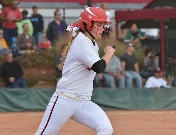 Loveland's Addie Coldiron rounds first base after making a hit against Dakota Ridge during Saturday's state 5A softball championship game at Aurora Sports Park.<br /> <br /> October 20, 2012<br /> staff photo/ David R. Jennings