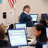 Judy Kurtz, gives instructions to students writing an essay on being mature using MY Access! program by Vantage Learning during her 10th grade world studies class on Tuesday. Vantage Learning gave a $300,200.00 grant to Adams 12 schools for the program.<br /> <br /> Sept. 22, 2009<br /> Staff photo/David R. Jennings