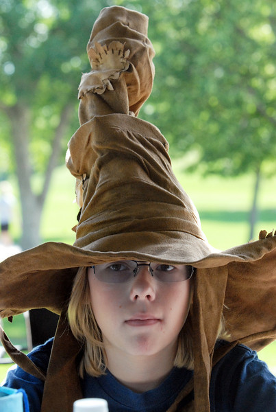 Adam Baltzer, 13, wearing his Sorting Hat to Wednesday's 2010 Quidditch Cup in celebration of Harry Potter at Community Park.<br /> July 21, 2010<br /> Staff photo/ David R. Jennings