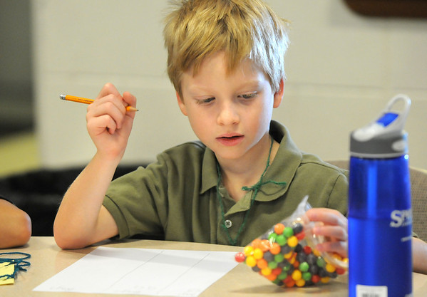Charlie Cappelletti, 7, tries to guess the number of candies in a bag during Math Camp held at the United Methodist Church on Friday.<br /> <br /> August 7, 2009<br /> staff photo/David R. Jennings