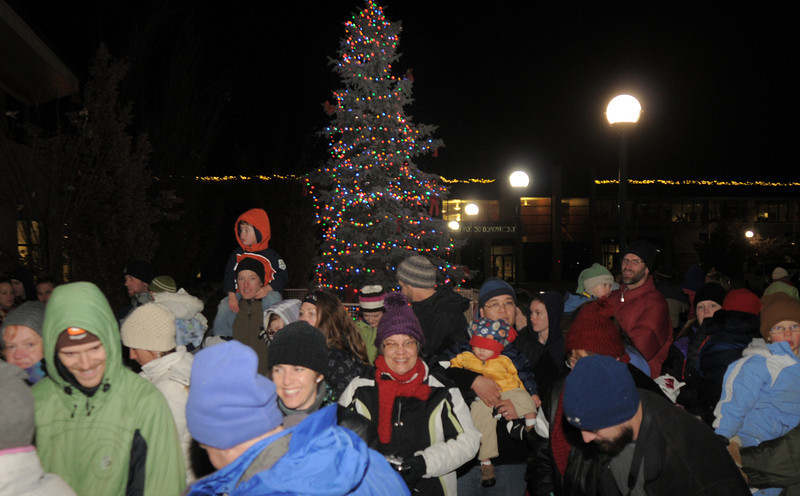 The Mayor's tree is lit during the tree lighting ceremony at the George Di Ciero City and County Building on Friday.<br /> <br /> December 2, 2011<br /> staff photo/ David R. Jennings