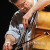 Edgar Meyer plays his bass during the lecture-demonstration master class with Mike Marshall before the benefit concert for the Broomfield High School orchestra on Saturday.<br /> <br /> <br /> April 17, 2010<br /> Staff photo/David R. Jennings