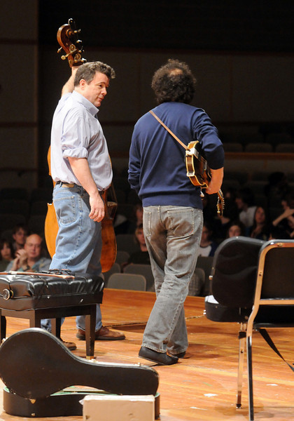 Edgar Meyer, left, and Mike Marshall answer questions during the lecture-demonstration master class before the benefit concert for the Broomfield High Orchestra at the school on Saturday.<br /> <br /> April 17, 2010<br /> Staff photo/David R. Jennings