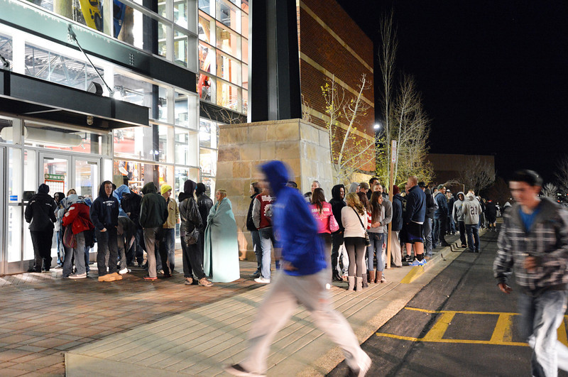 Black Friday shoppers wait for Dick's to open at midnight for the Midnight Madness Black Friday event at FlatIron Crossing after midnight on Friday. <br /> November 24, 2012<br /> staff photo/ David R. Jennings