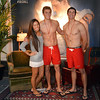 Hollister models Cole Nielsen, center, and Alex Terranova, right, pose for pictures with fellow employee Nicki Novosel  during the Midnight Madness Black Friday event at FlatIron Crossing after midnight on Friday. <br /> November 24, 2012<br /> staff photo/ David R. Jennings