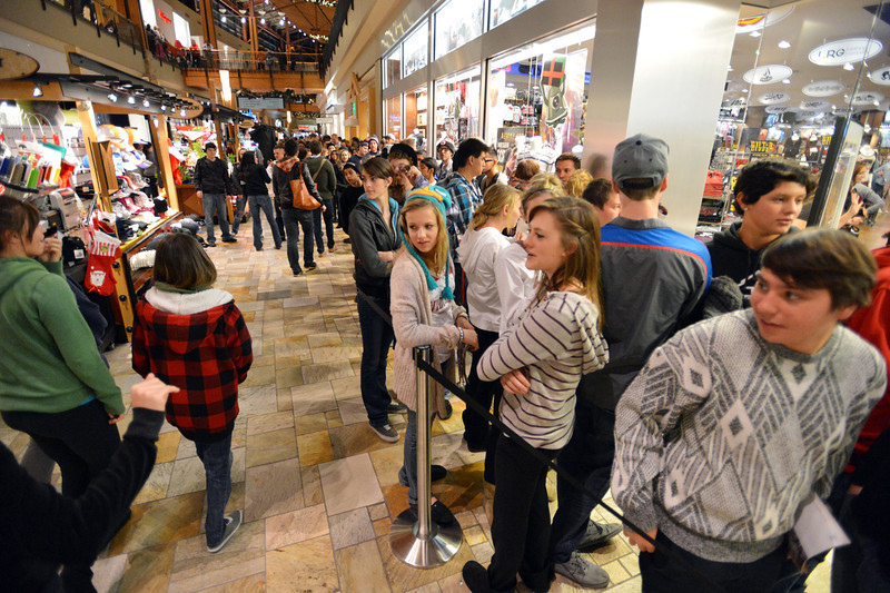 Black Friday shoppers wait in line for the Tilly's sotre during the Midnight Madness Black Friday event at FlatIron Crossing after midnight on Friday. <br /> November 24, 2012<br /> staff photo/ David R. Jennings
