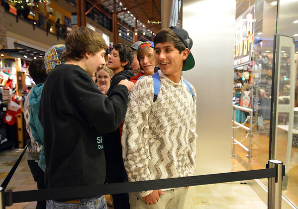 Zach Matthes, 16, left, and Zack Gomez, 17, were first  in line for the Tilly's store during the Midnight Madness Black Friday event at FlatIron Crossing after midnight on Friday. <br /> November 24, 2012<br /> staff photo/ David R. Jennings