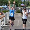 Denise Chapel, left, gives a cheer as she begins the final stage with JulieVan Ryswyk  during the Mini Haha Triathlon at the Broomfield Community Center.<br /> June 8, 2012 <br /> staff photo/ David R. Jennings