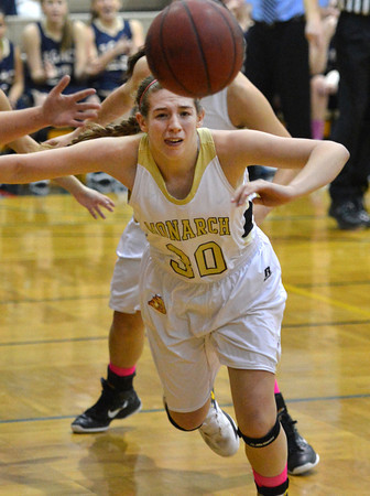 Monarch's Francesca Cendali scrambles after the ball against Legacy during Friday's game at Monarch High.<br /> February 15, 2013<br /> staff photo/ David R. Jennings