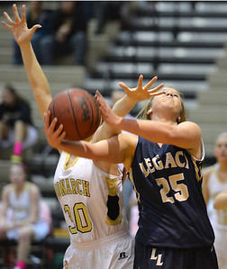 Legacy's Bree Paulson goes to the basket against Monarch's Francesca Cendali during Friday's game at Monarch High. February 15, 2013 staff photo/ David R. Jennings