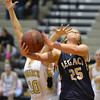 Legacy's Bree Paulson goes to the basket against Monarch's Francesca Cendali during Friday's game at Monarch High.<br /> February 15, 2013<br /> staff photo/ David R. Jennings