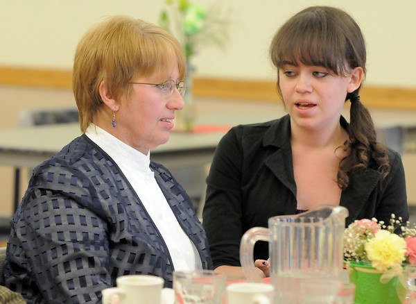 Susan McCabe, left, chats with her daughter Erin McCabe at the Broomfield Senior Center Mother's Day luncheon on Friday.<br /> May 11, 2012 <br /> staff photo/ David R. Jennings