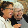 Tye McCarthy, left, laughs with her mother Donna Agee  at the Broomfield Senior Center Mother's Day luncheon on Friday.<br /> May 11, 2012 <br /> staff photo/ David R. Jennings