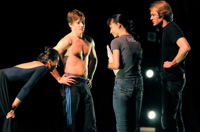 """Washington Ballet dancers Sona Kharatian and Jonathan Jordan chat with BNC's artistic directors Dawn Fay and Garrett  Ammon during rehearsal of """"Cor Perdut"""" for Moving Together, a cause for dance, a benefit for Ballet Nouveau Colorado for Thursday's performance at the Pinnacle Charter School arts complex. <br /> July 27, 2010<br /> Staff photo/ David R. Jennings"""