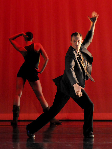 """BNC company dancers Sean Watson and Meredith Strathmeyer rehearse """"Bang Bang"""" for Moving Together, a cause for dance, a benefit for Ballet Nouveau Colorado for Thursday's performance at the Pinnacle Charter School arts complex. <br /> July 27, 2010<br /> Staff photo/ David R. Jennings"""