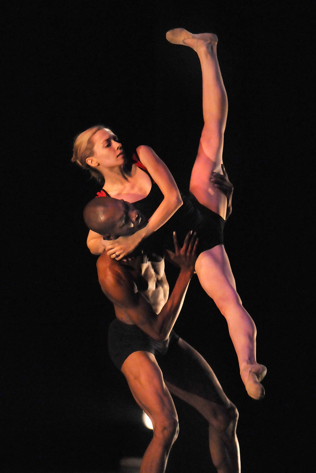 """BNC dancers Julie King and Damien Patterson rehearse """"Mediate"""" for the performance of Moving Together, a cause for dance, a benefit for Ballet Nouveau Colorado for Thursday's performance at the Pinnacle Charter School arts complex.  <br /> July 27, 2010<br /> Staff photo/ David R. Jennings"""