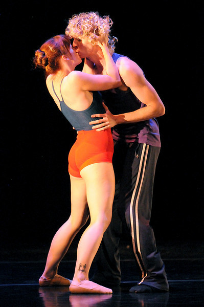 """BNC dancers Julia Meng and Colby Foss rehearse """"For The Love Of Pete"""" for the performance of Moving Together, a cause for dance, a benefit for Ballet Nouveau Colorado for Thursday's performance at the Pinnacle Charter School arts complex.  <br /> July 27, 2010<br /> Staff photo/ David R. Jennings"""