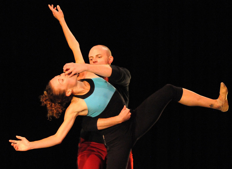 """BNC dancers Megan Coatney and David Barbour rehearse """"An Occasional Dream"""" for Moving Together, a cause for dance, a benefit for Ballet Nouveau Colorado for Thursday's performance at the Pinnacle Charter School arts complex. <br /> July 27, 2010<br /> Staff photo/ David R. Jennings"""