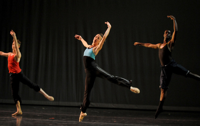 Megan Coatney, center, rehearses for Moving Together, a cause for dance, a benefit for Ballet Nouveau Colorado for Thursday's performance at the Pinnacle Charter School arts complex. <br /> July 27, 2010<br /> Staff photo/ David R. Jennings