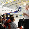 Pavel A. Romashkin, project manager for  the NCAR Gulfstream V aircraft being used for the HIPPO II reasearch project  answers questions from Vaughn Elementary School students during a tour of the aircraft at the NCAR base at Rocky Mountain Metro Airport on Wednesay.<br /> <br /> October 21, 2009<br /> Staff photo/David R. Jennings