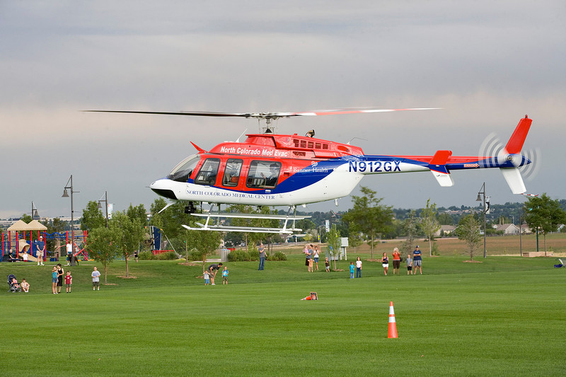 A Med-Evac helicopter lands at the Broomfield County Commons on Tuesday evening during the National Night Out. Photo by Matt Kelley/For the Enterprise
