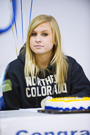 S0202BROOMFIELD4.jpg S0202BROOMFIELD4<br /> Broomfield's Morgan Rynearson during the signing ceremony held at Broomfield High School on Wednesday afternoon, February 1st, 2012.<br /> <br /> Photo by: Jonathan Castner