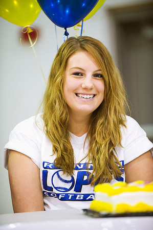 S0202BROOMFIELD1.jpg S0202BROOMFIELD1<br /> Broomfield's Taylor DeBoer during the signing ceremony held at Broomfield High School on Wednesday afternoon, February 1st, 2012.<br /> <br /> Photo by: Jonathan Castner