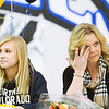 S0202BROOMFIELD7.jpg S0202BROOMFIELD8<br /> At right, Christina Rynearson wipes away a tear as her daughter Broomfield's Morgan Rynearson prepairs to sign her letter of intent to the University of Northern Colorado during the signing ceremony held at Broomfield High School on Wednesday afternoon, February 1st, 2012.<br /> <br /> Photo by: Jonathan Castner