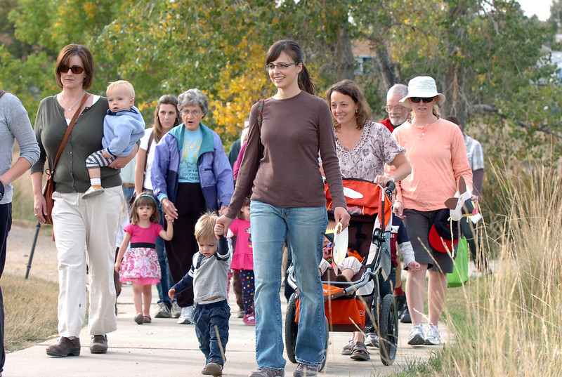 Preschoolers walk with their families during the Broomfield Nature Program at Josh's Pond on Wednesday.<br /> October 5, 2011<br /> staff photo/ David R. Jennings