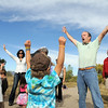 Broomfield wildlife master Chris Petrizzo teaches preschoolers how to look big to coyotes during the Broomfeild Nature Program at Josh's Pond on Wednesday.<br /> October 5, 2011<br /> staff photo/ David R. Jennings