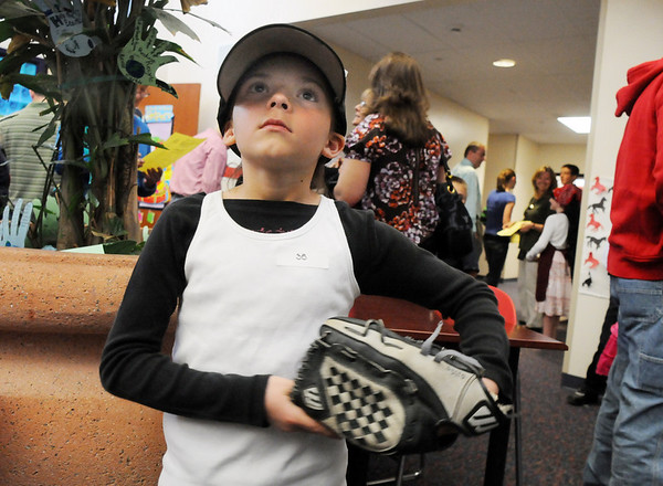 Aubrey Otterson as  baseball player Roberto Clemente during the Meridian Elementary School third grade Night of the Notables on Wednesday.<br /> <br /> May 5, 2010<br /> Staff photo/ David R. Jennings