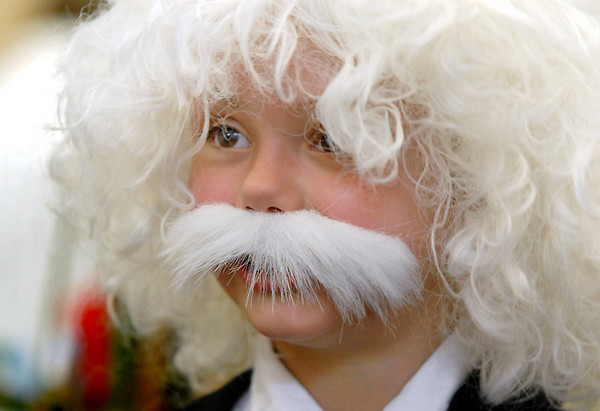 Emmy Hoeben was Albert Einstein for the Meridian Elementary School third grade Night of the Notables on Wednesday.<br /> <br /> May 5, 2010<br /> Staff photo/ David R. Jennings