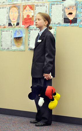 Caroline Tucker studied Walt Disney as her notable for the Meridian Elementary School third grade Night of the Notables on Wednesday.<br /> <br /> May 5, 2010<br /> Staff photo/ David R. Jennings