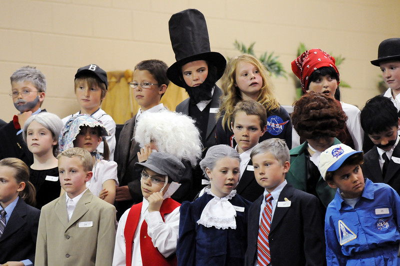 Third grades stood to reveal their notable's identity to parents during the Meridian Elementary School Night of the Notables on Wednesday.<br /> <br /> May 5, 2010<br /> Staff photo/ David R. Jennings