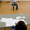 Andrew Neuhalen, age 14,  auditions for the seventh annual Night of the Stars Talent Competition while Dawn Stipe of Broomfield Parks and Recreation judges on Saturday at the Broomfield Community Center.<br /> <br /> photo/Matt Kelley