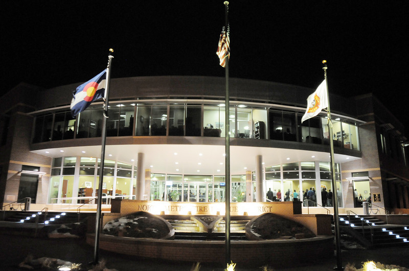 The new North Metro Fire Rescue District administration building at night on Thursday.<br /> <br /> January 20, 2011<br /> staff photo/David R. Jennings