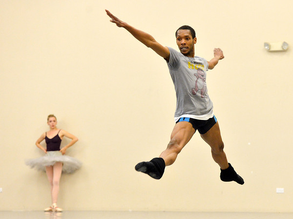 Damien Patterson perform his dance of the Snow Prince  during rehearsal for Ballet Nouveau Colorado's production of the Nutcracker on Saturday at the studio.<br /> <br /> December 1, 2012<br /> staff photo/ David R. Jennings