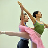 Marian Faustino and Brandon Freeman perform the dance of the Sugar Plum Fairy during rehearsal for Ballet Nouveau Colorado's production of the Nutcracker on Saturday at the studio.<br /> <br /> December 1, 2012<br /> staff photo/ David R. Jennings