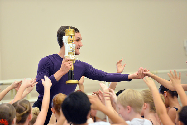 Ben Delony portrays  Drosselmeyer while holding the nutcracker during rehearsal for Ballet Nouveau Colorado's production of the Nutcracker on Saturday at the studio.<br /> <br /> December 1, 2012<br /> staff photo/ David R. Jennings
