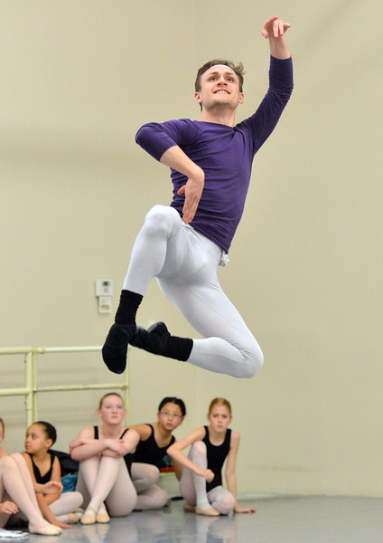 Ben Delony performs the Russian dance during rehearsal for Ballet Nouveau Colorado's production of the Nutcracker on Saturday at the studio.<br /> <br /> December 1, 2012<br /> staff photo/ David R. Jennings