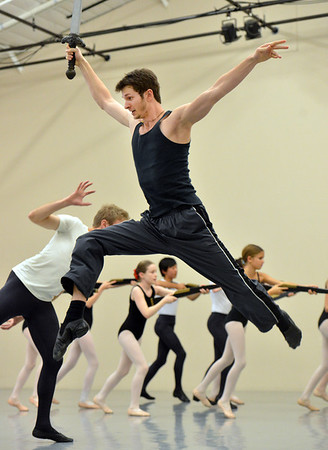 Corbin Kalinowski performs as the  Mouse King during rehearsal for Ballet Nouveau Colorado's production of the Nutcracker on Saturday at the studio.<br /> <br /> December 1, 2012<br /> staff photo/ David R. Jennings