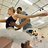 Julie King and Damien Patterson come off stage after performing during rehearsal for Ballet Nouveau Colorado's production of the Nutcracker on Saturday at the studio.<br /> <br /> December 1, 2012<br /> staff photo/ David R. Jennings