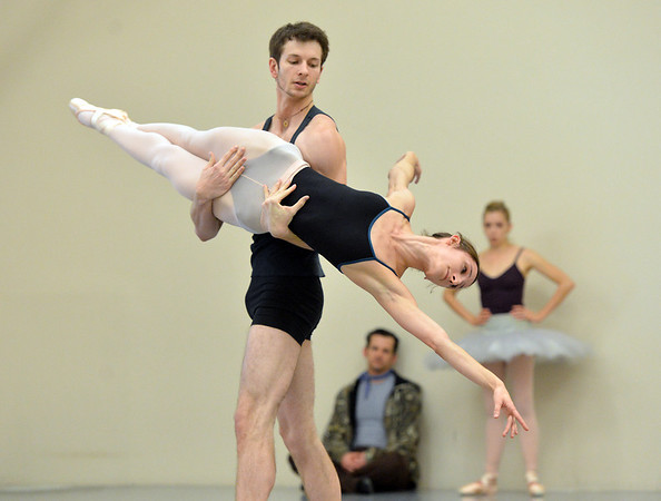 Candice Bergeron and Corbin Kalinowski perform the Arabian Dance during rehearsal for Ballet Nouveau Colorado's production of the Nutcracker on Saturday at the studio.<br /> <br /> December 1, 2012<br /> staff photo/ David R. Jennings