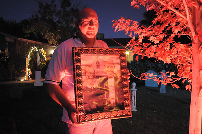 """Jom O'Dell works on Halloween decorations transforming his home into his haunted house dubbed """" The Chilling Hour""""  at 920 Coral St. on Wednesday.   October 19, 2011 staff photo/ David R. Jennings"""
