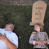 "Jim O'Dell and his daughter Emma, 9, pose in the graveyard of their Halloween haunted house dubbed "" The Chilling Hour""  at 920 Coral St. on Wednesday.  Emma will be a vampire for the haunted house.<br /> October 19, 2011<br /> staff photo/ David R. Jennings"
