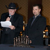 Auctioneer Gary Corbett, left, and sculptor Lucas Loeffler<br /> <br /> October 30, 2009<br /> photo/Gerry Case